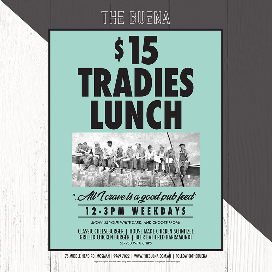 $15 Tradies Lunch Monday to Friday