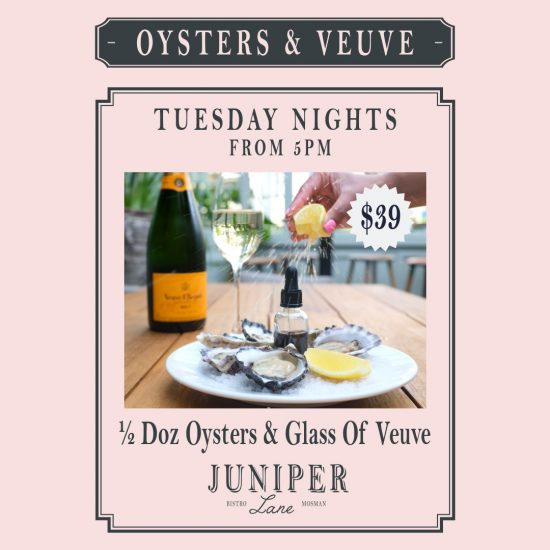 Champagne and Oyster Tuesdays at Juniper Lane